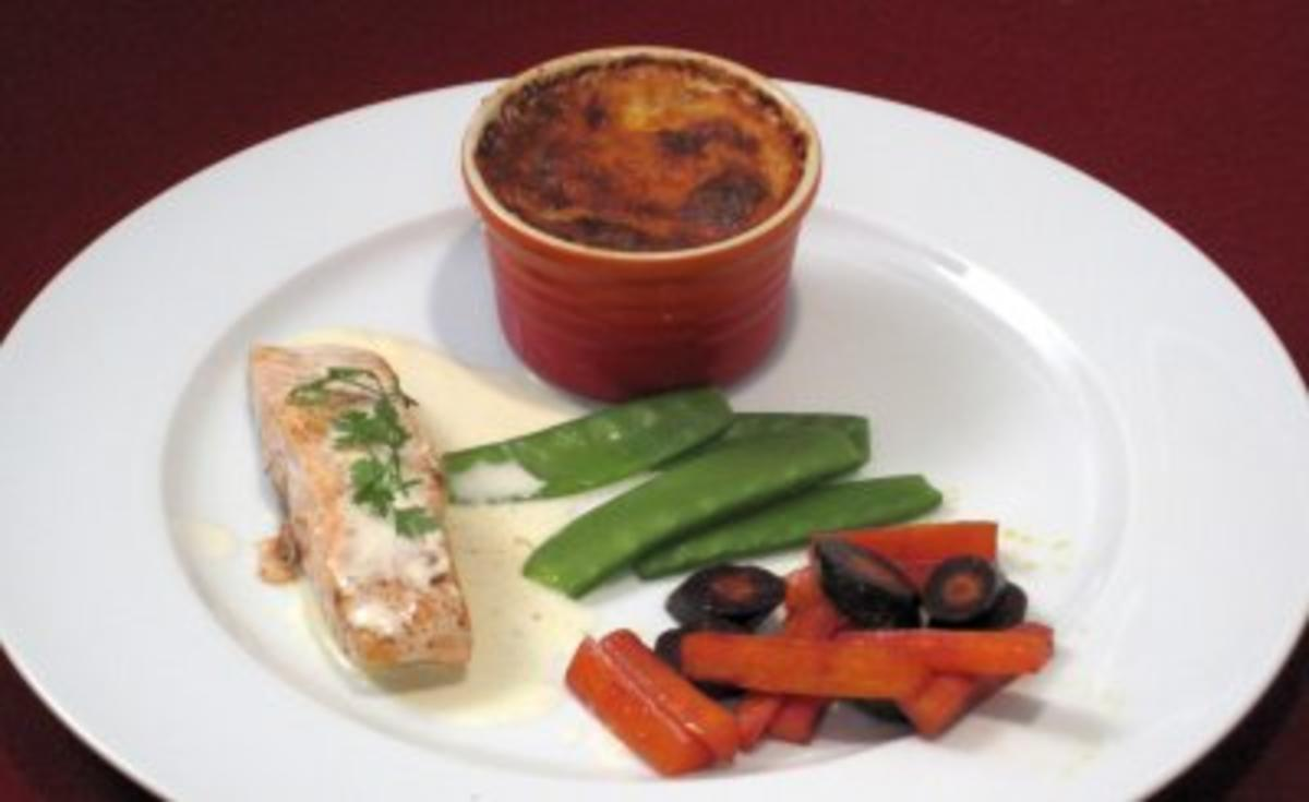 Rezept mit Bild: 02.06. Corinna: Zitroniger Lachs mit Kartoffelgratin und Gemse der Saison
