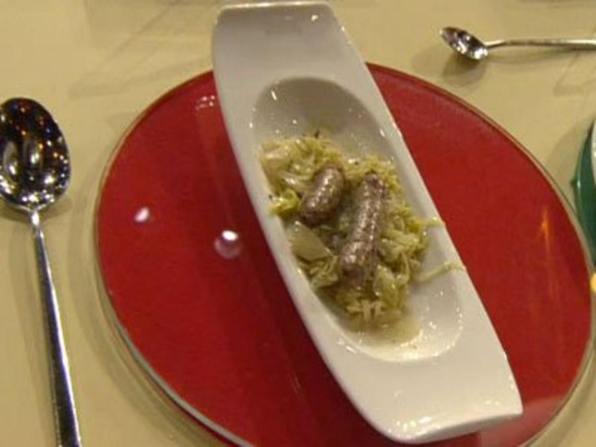 Rezept mit Bild: Hauptspeise: Bratwrste &quot;Nrnberger Art&quot; mit hausgemachtem Sauerkraut 