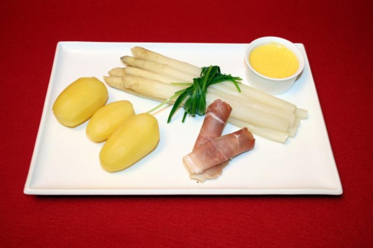 Rezept: Stangenspargel mit Kartoffeln, dazu Norderneyer Meersalz-Schinken