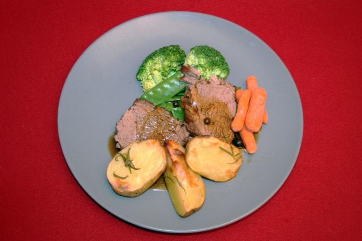 Rezept mit Bild: 07.08. Christian: Rinderfilet mit Rosmarinkartoffeln und Gemse