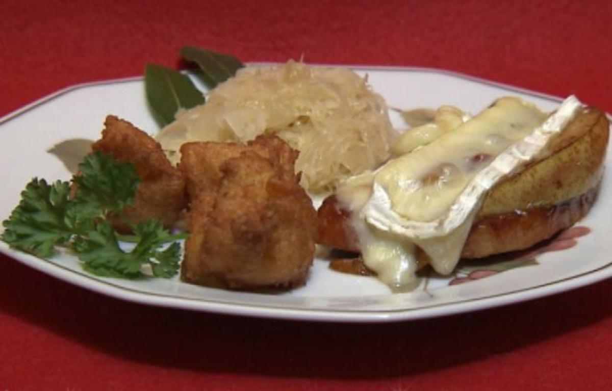Rezept mit Bild: Kasseler mit Birne und Preiselbeeren überbacken, dazu Königskartoffeln